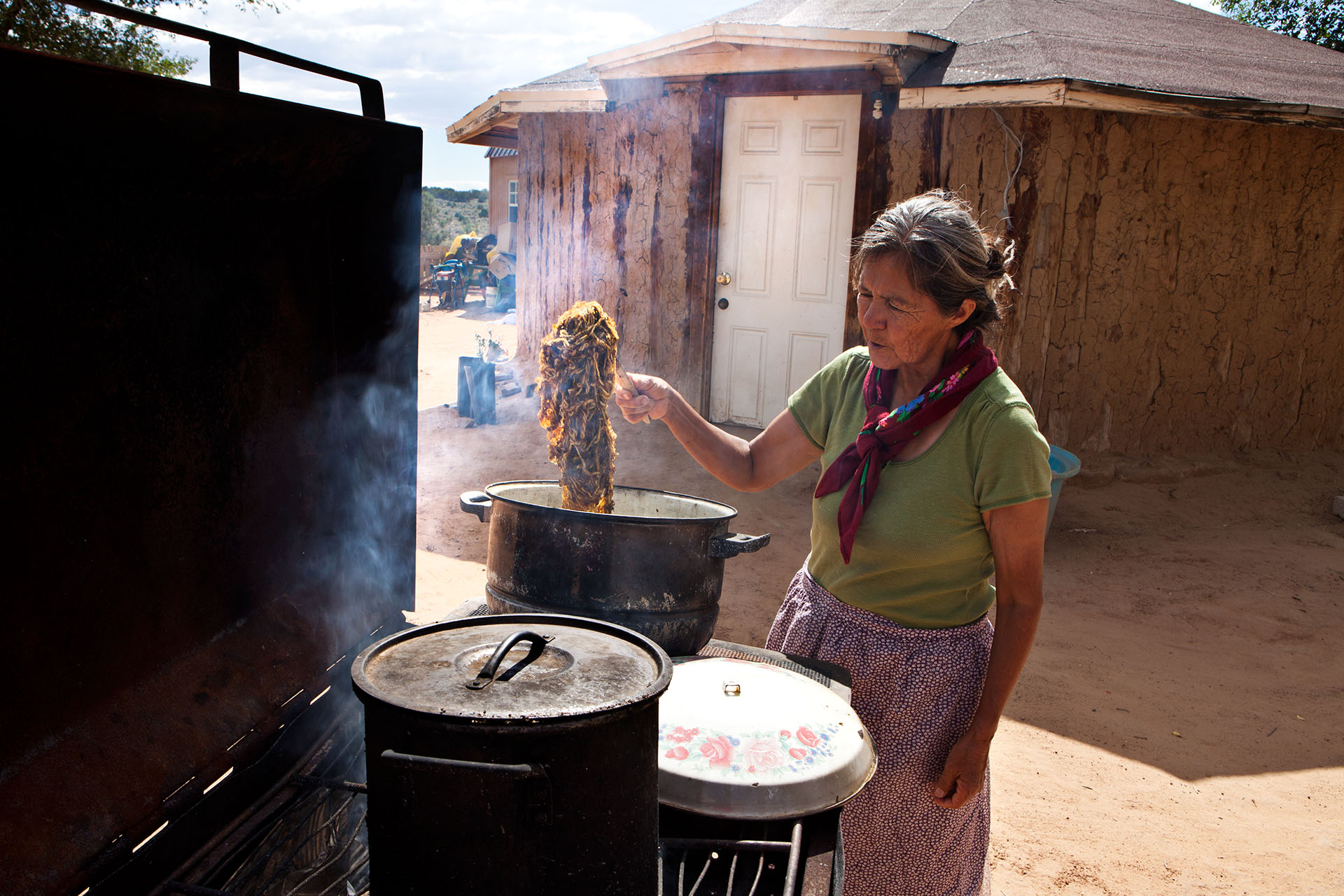 Navajo wool yarn is dyed with plant dye by Lorraine Herder of the Hardrock Reservation in Northern Arizona