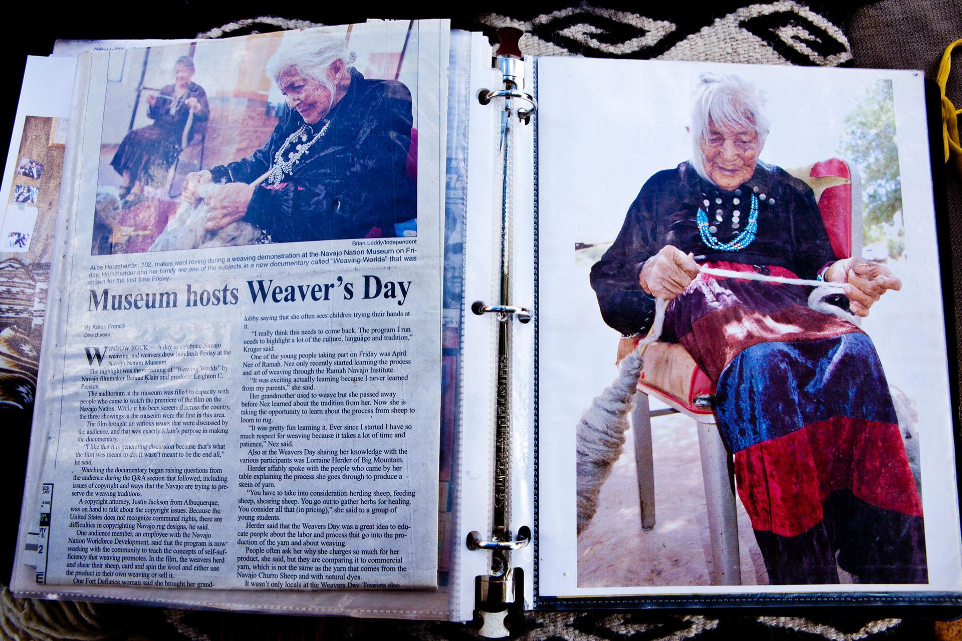 Indigenous Navajo women weaves until she is 101 years old.